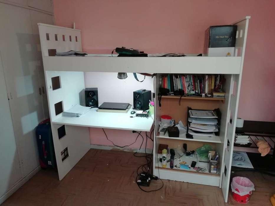 Mueble multifunción: cama, <strong>escritorio</strong>, estantería/ropero