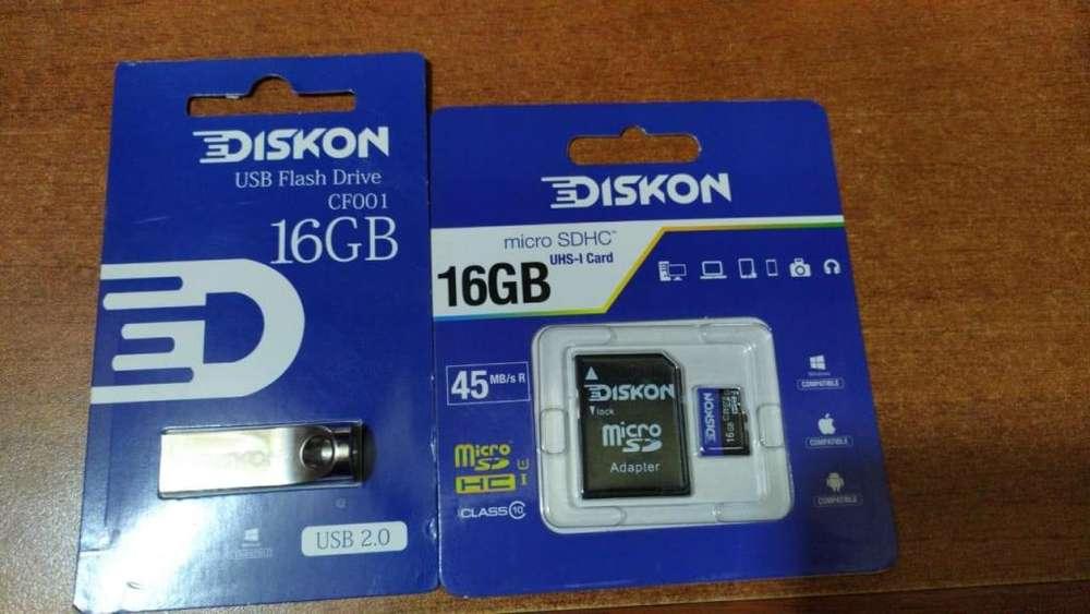 MEMORIAS DE 16 GB MICRO O USB GARANTIZADAS DISKON CLASE 10 ORIGINALES