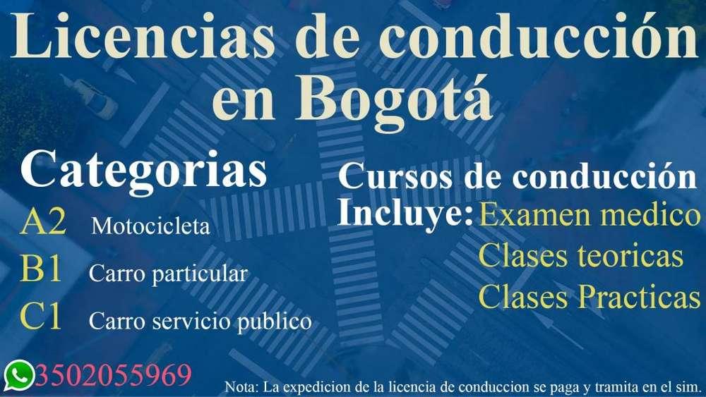 Licencia de conducción categoría; Pase de conducción, Refrendacion, Horas de refuerzo carro y moto (Bogotá)