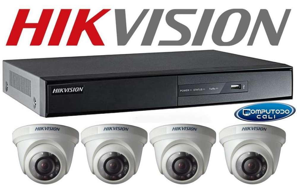 4 Camaras de vigilancia y dvr Hikvision