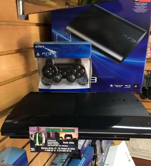 Play Station 3 PS3 Súper Slim con 54juegos GARANTIA!