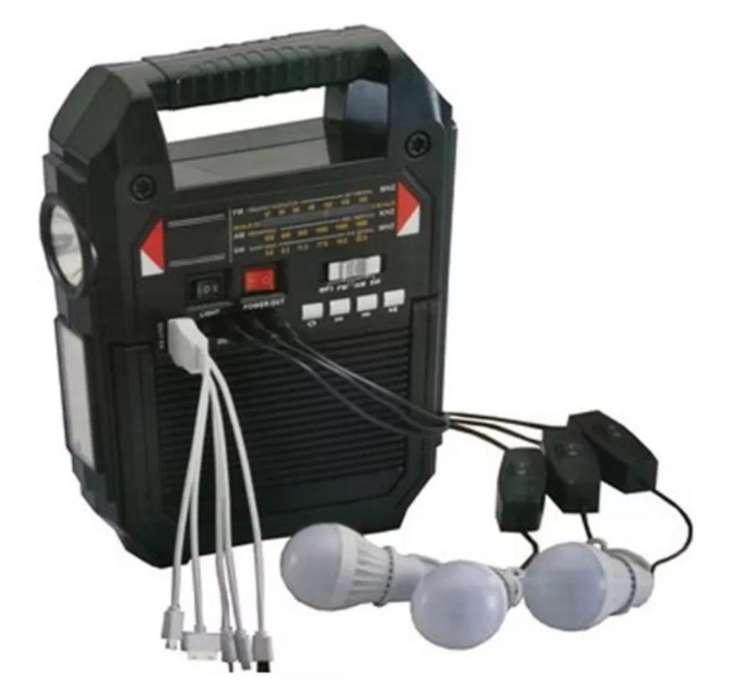 Panel Solar Radio 3 Bombillos Bluetooth