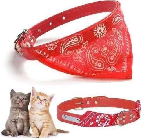 Collar Pañoleta Pequeño Mascota Correa Con Bandana Rojo