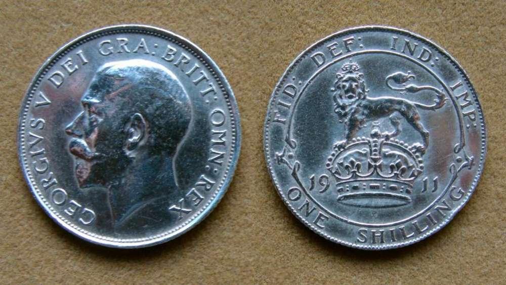 Moneda de 1 chelín de plata Gran Bretaña 1911