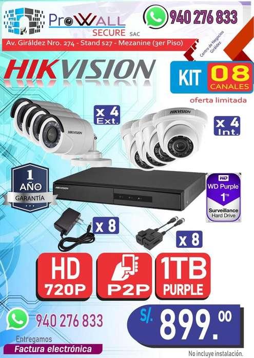 Cámaras de Vigilancia: Kit HD 720 de 8 Canales.
