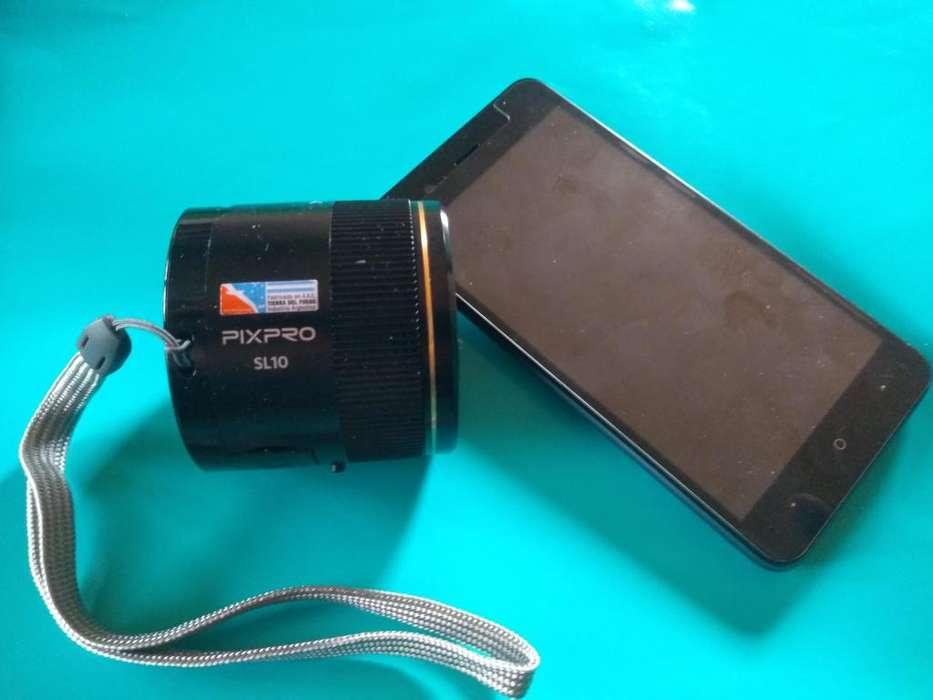 Camara kodak pixpro sl10 y celular visor 5 pulgadas.