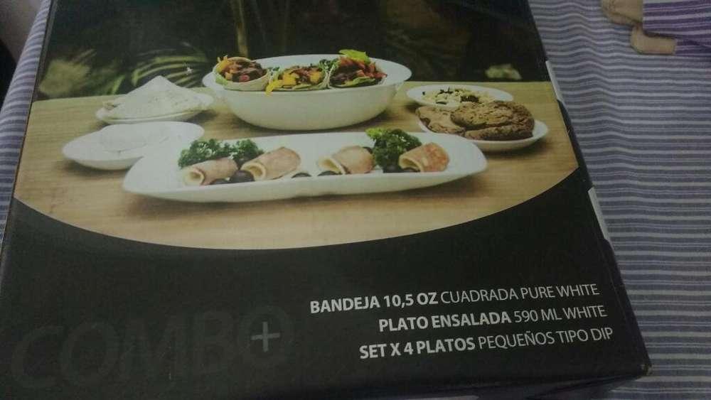 <strong>bandeja</strong>,plato Ensalada Y Set X 4 Platos