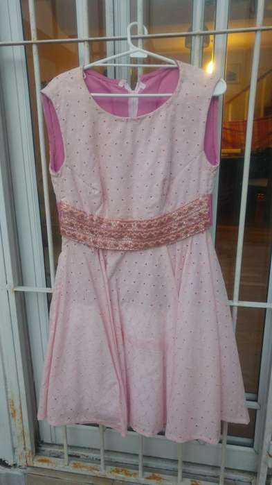 Vestido de fiesta talle large, tela broderi forrado, rosa, cintura bordada