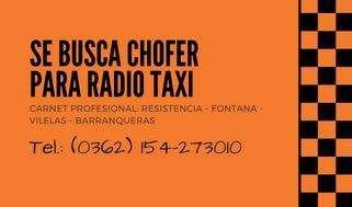 Chofer para Radio Taxi