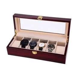 Caja Porta Relojes 6 Unidades Caja Lujo Madera Hombre Mujer