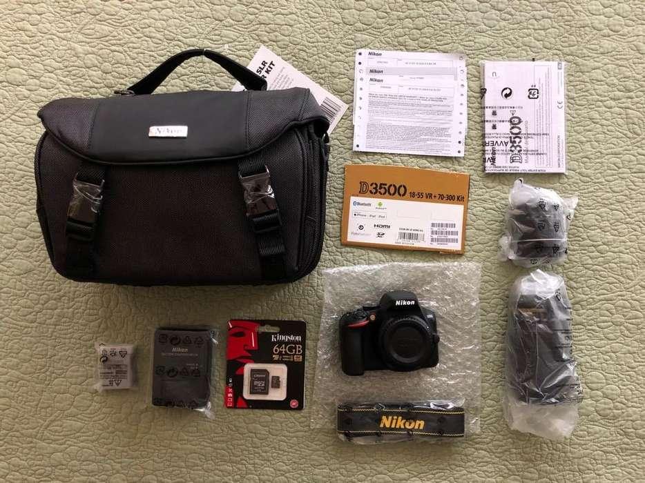 <strong>camara</strong> Nikon D3500 con 2 Lentes Y Mas