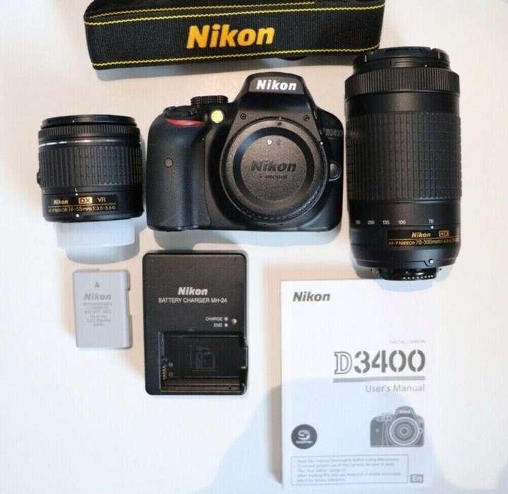 Camara Nikon D3400 kit lente 1855 y 70300