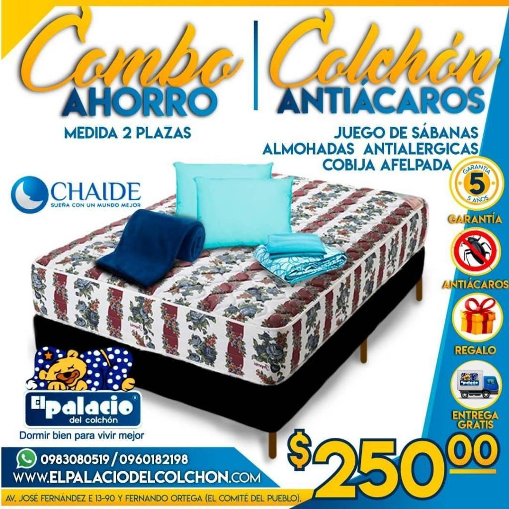 TU COMBO Colchon Chaide 2 Plazas MAS Cama Base MAS Sabanas MAS Cobijas MAS Almohadas MAS ENVÍO *WhatsApp 0983080519*
