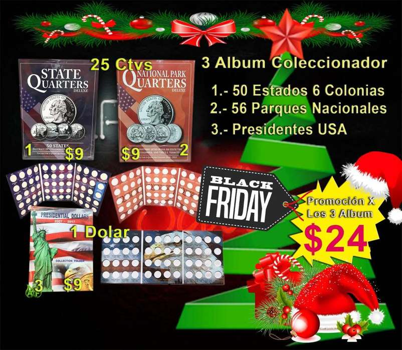 3 Album para Monedas Usa De Cuartos De Dolar Y De 1 Dolar Presidentes