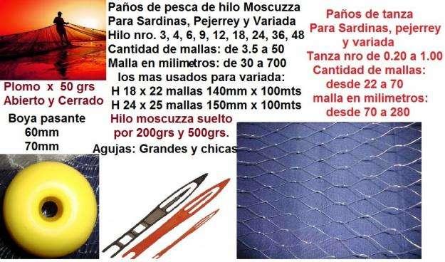 Paños Redes de Pesca HILO 18 X 22 MALLAS X 140 MM X 100 MTS