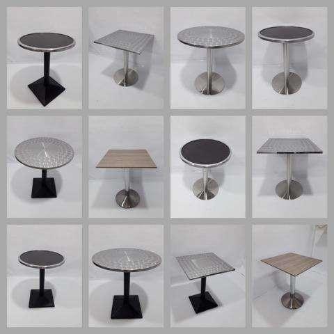 Variedad en mesas nuevas base metálica tapa en acero madera vidrio y <strong>sillas</strong> para negocio