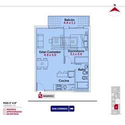 San Lorenzo y Pte. Roca - Dpto de 1 Dormitorio. Cochera disponible. Vende Uno Propiedades