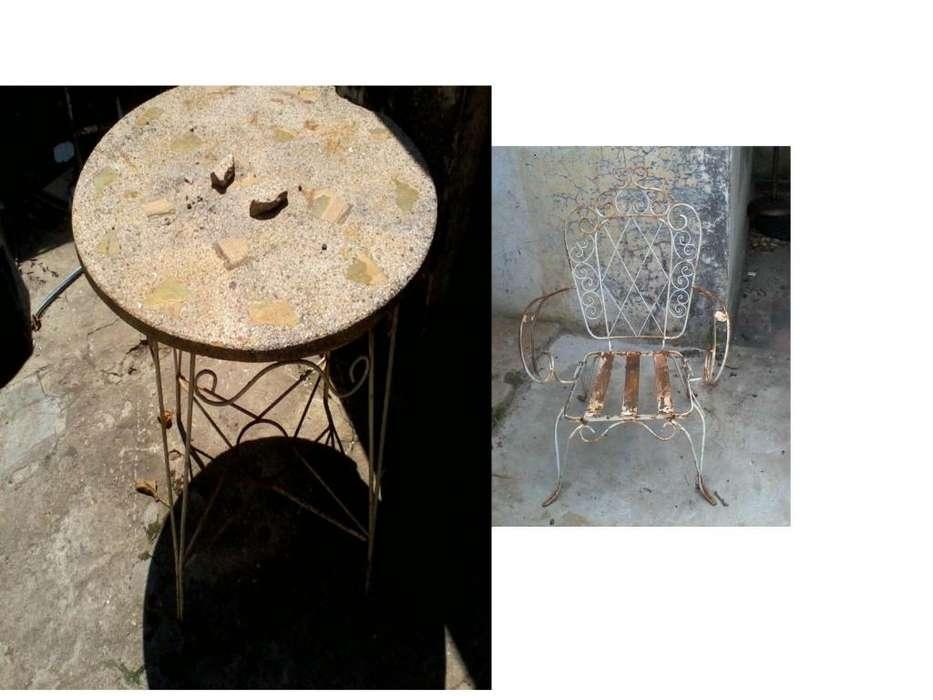 <strong>sillon</strong>es y mesa de jardin antiguos
