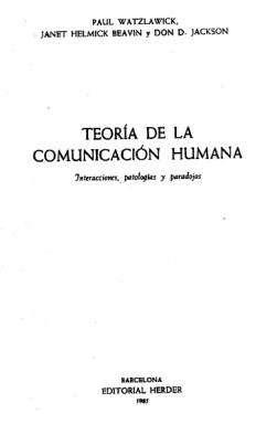 Teoria De La Comunicacion Humana Posadas