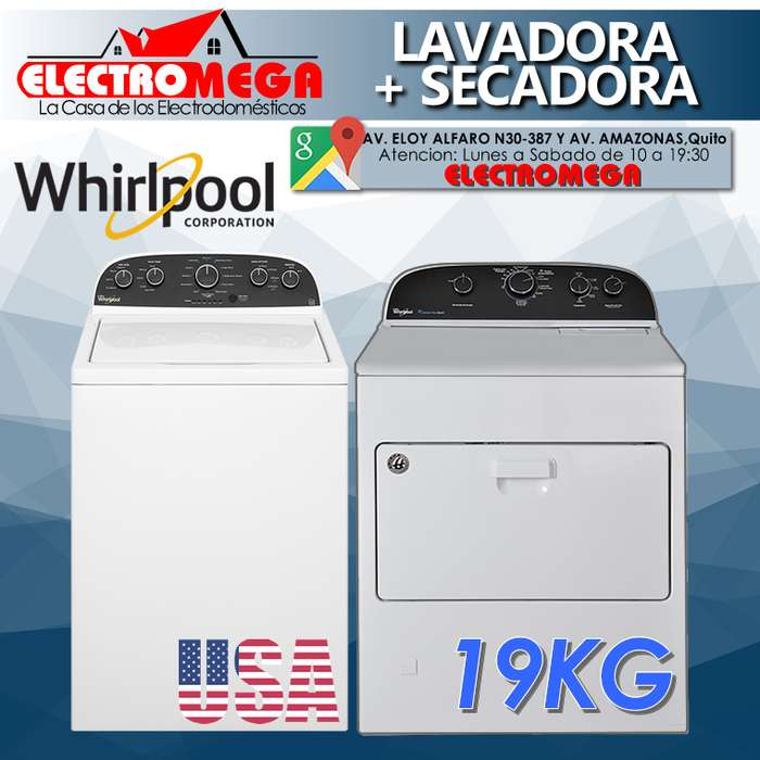 Combo <strong>lavadora</strong> Whirlpool Secadora Whirlpool 19kg Americanas Nuevas