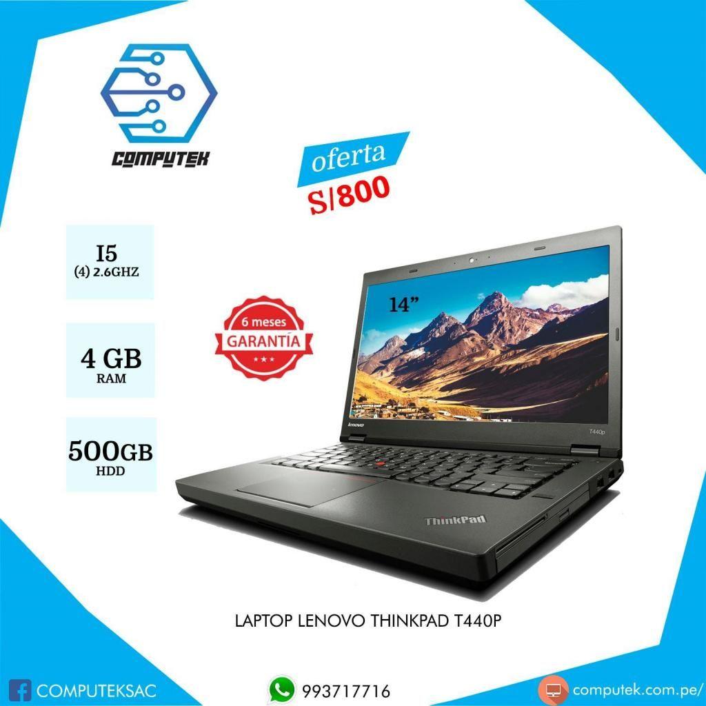 LAPTOP LENOVO T440P Core i5 4ta. Generación, 2.5Ghz, RAM 4GB, Disco Duro 500 GB. OFERTA S/800
