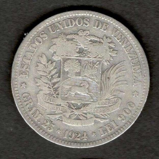 Venezuela 1924 FUERTE 5 Bolivares 90 Silver Coin 25 Grams