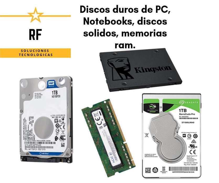 Discos de pc y notebook, discos sólidos, memoria ram de Notebook y de PC. Con garantia.