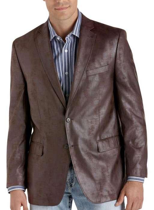 Blazer Calvin Klein Original Tipo Cuero Café Slim Fit Talla 42 Long