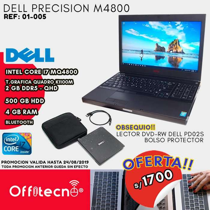 LAPTOP DELL PRECISION M4800 CORE I7 4800MQ MEMORIA 4 GB RAM DDR3 DISCO DURO 500 GB HDD