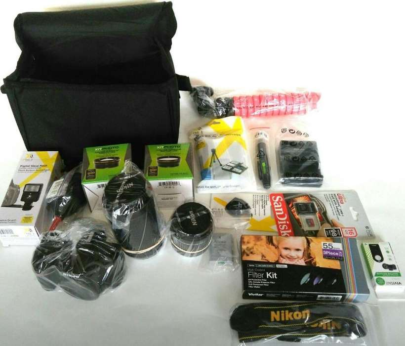Kit camara Nikon 24.2 Megapixels, DSLR, con cuatro lentes
