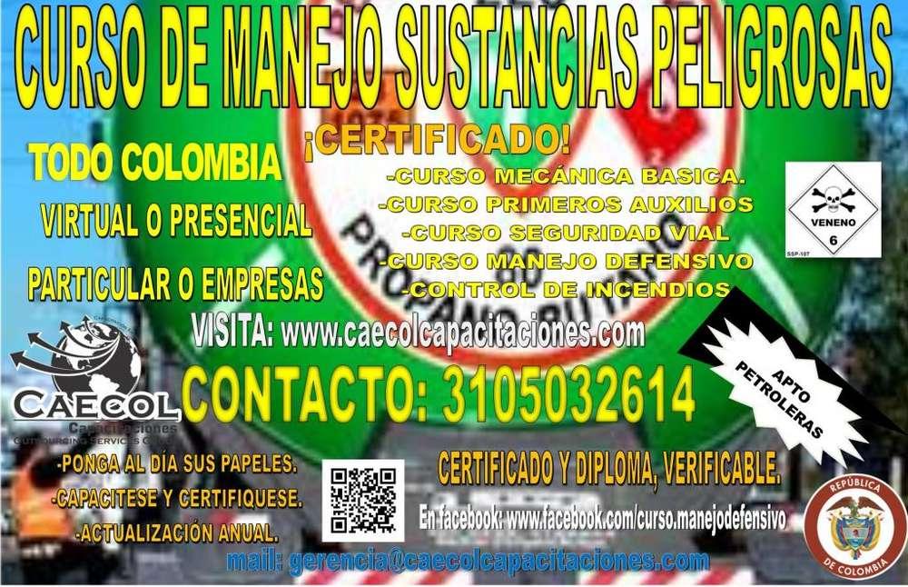 CURSO MANEJO Y TRANSPORTE SUSTANCIAS PELIGROSAS CERTIFICADO