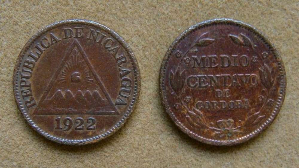 Moneda de 1/2 centavo Nicaragua 1922