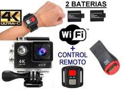 Camara Deportiva 4K Deportes Tipo GoPro Acuatica Control 2 Baterias