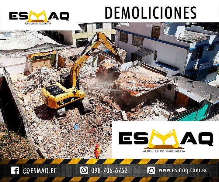 Demoliciones, Alquiler de Martillo Hidraulico, Derrocamiento de estructuras de hormigon, Renta de Maquinaria Pesada
