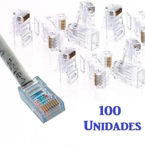 100 Unidades Conector Terminal Rj45 Cat5 Red Internet En Oro