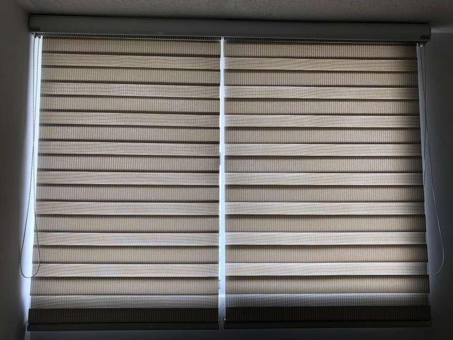 Remate Cortina o Panel Enrollable doble color blancogris como nueva