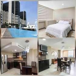 Alquiler departamento amoblado, puerto santa ana, edificio torre bellini, alado del hotel wydham
