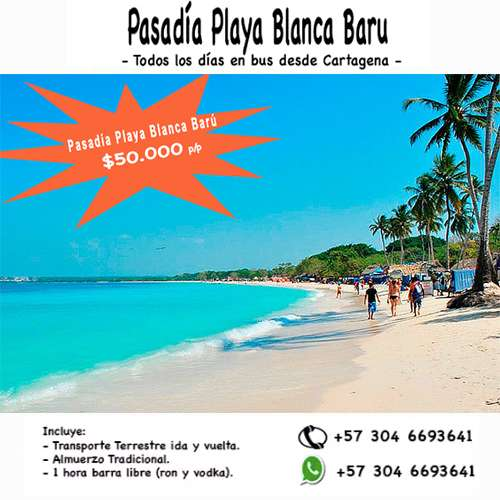 Tour Pasadía a Playa Blanca Isla Barú 50.000