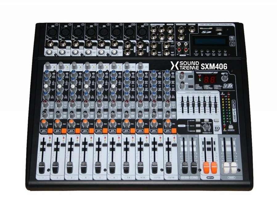 Potenciada Consola Soundxtreme Sxm 406 14 Canales Oferta !!!