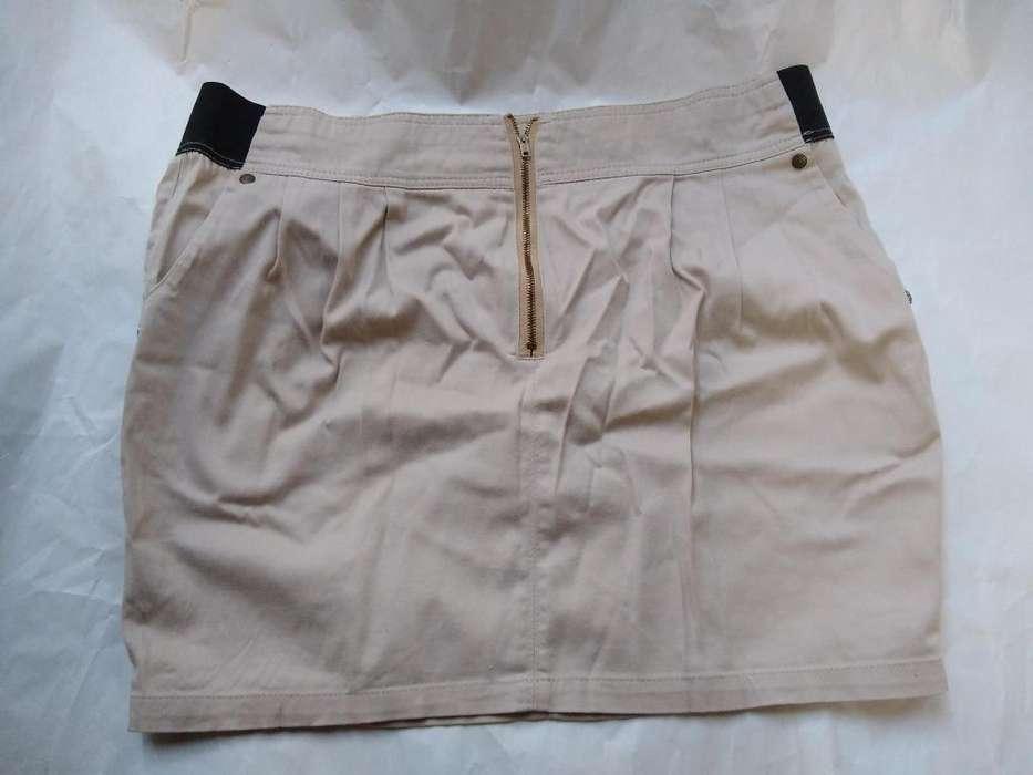 Pollera mini poplin beige cintura 40 cm-largo 40 use en desfile