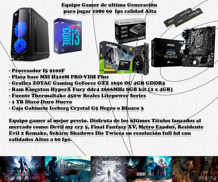 PC Gamer 1080p 60 fps Calidad Alta