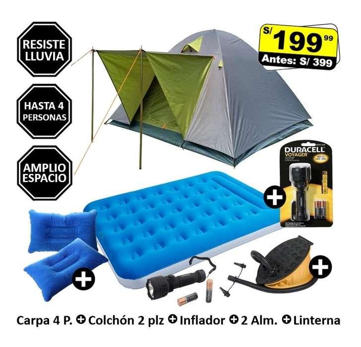 Carpa 4 Personas Colchón inflable 2 Plz Inflador Almohadillas Linterna Carpas Camping