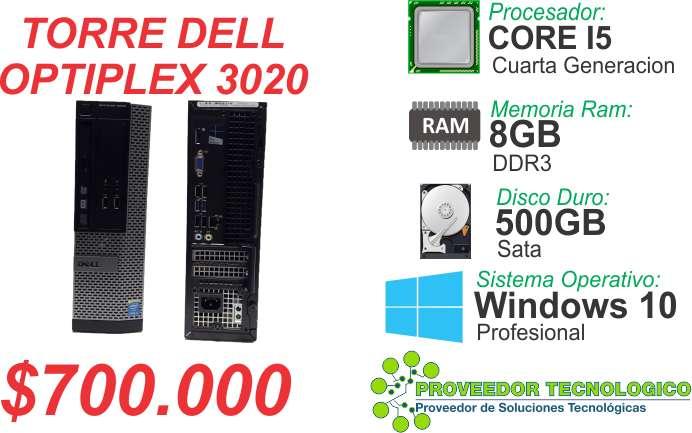 TORRE DELL OPTIPLEX 3020 CORPORATIVA CORE I5 CUARTA GENERACION RAM 8GB DISCO DURO 500GB