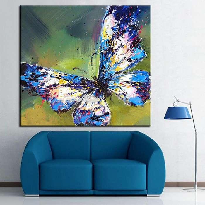 cuadro de mariposa en tonos azules y verdes 9661
