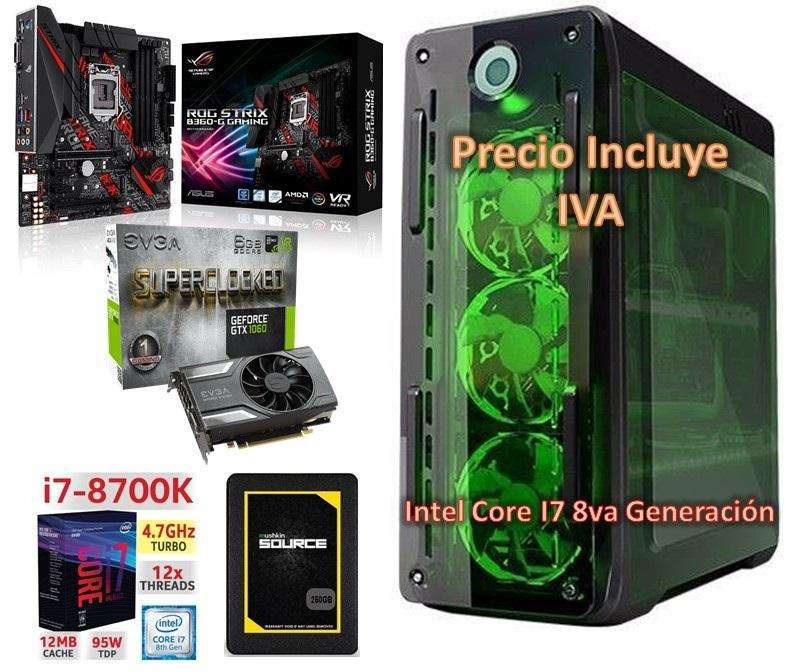 Computador Intel I78700k 8va 2tb 250gb SSD 32gb Gtx1060 6gb cpu PRECIO INCLUYE IVA ENTREGA A DOMICILIO