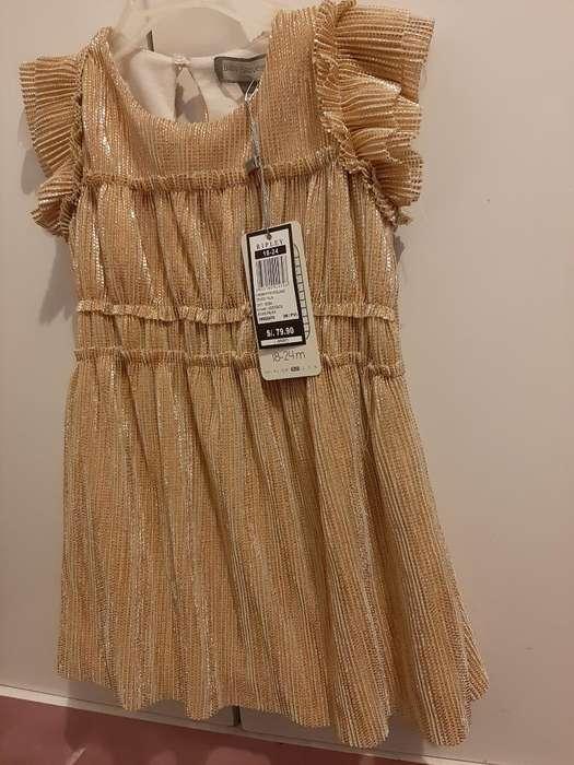 Vestido Dorado Nuevo Talla 2