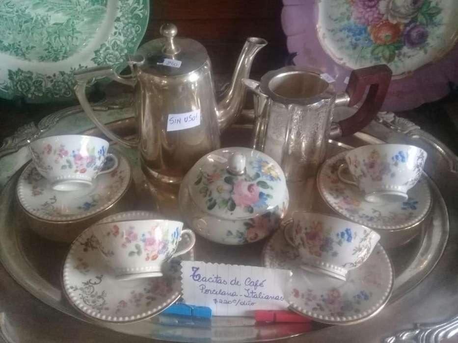 Juego de Té o Café completo, bronce y porcelana Italiana