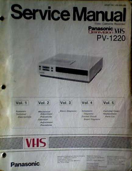 "IDIOMA: INGLESMANUAL DE SERVICE ""PANASONIC"" VHS PV 1220 ORIGINAL AUDIOMAX"