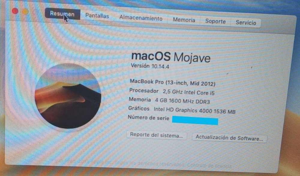 Macbook Pro Mod.2012,único Dueño, Mojave