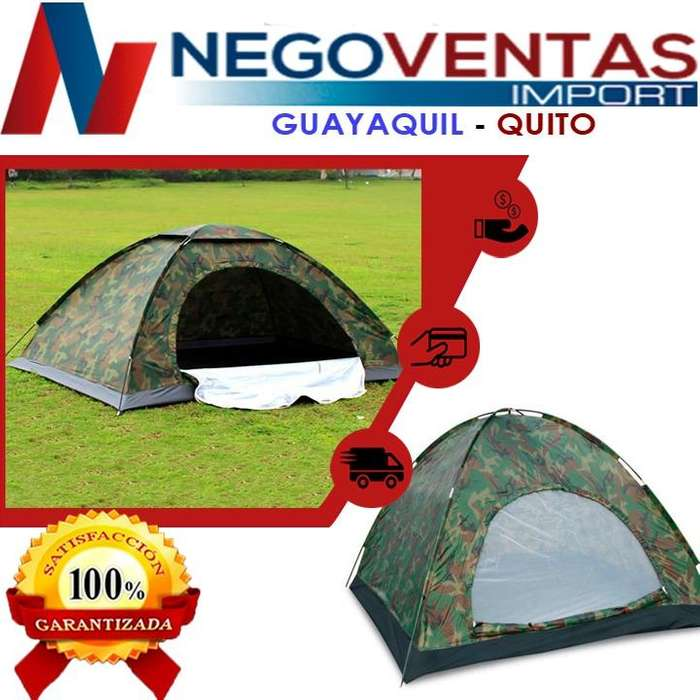 CARPA <strong>camping</strong> IMPERMEABLE 2X2 COLOR CAMUFLAJE CAPACIDAD 4 PERSONAS - IDEAL PARA TUS DEPORTES